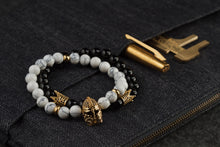 Load image into Gallery viewer, UNCOMMON Men's Beads Bracelet One Gold Jeweled Warrior Charm White Jasper Beads