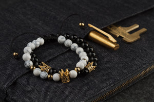UNCOMMON Men's Beads Bracelet One Gold Jeweled Crown Charm White Jasper Beads