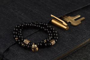 UNCOMMON Men's Beads Bracelet Two Gold Jeweled Chest Charm Black Gloss Onyx Beads