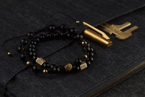 UNCOMMON Men's Beads Bracelet One Gold Jeweled Globe Charm Black Onyx Beads