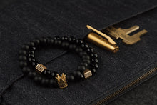 Load image into Gallery viewer, UNCOMMON Men's Beads Bracelet One Gold Jeweled Crown Charm Black Matte Onyx Beads