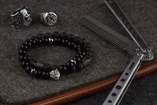Load image into Gallery viewer, UNCOMMON Men's Beads Bracelet One Silver Lion Charm Onyx Beads