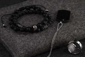 UNCOMMON Men's Beads Bracelet One Silver Jeweled Ring Charm Black Matte Onyx Beads