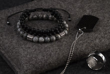 Load image into Gallery viewer, UNCOMMON Men's Beads Bracelet Double-Row Black Matte Onyx Beads