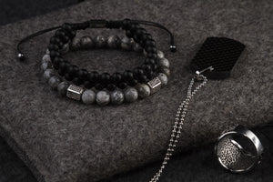 UNCOMMON Men's Beads Bracelet Double-Row Black Matte Onyx Beads