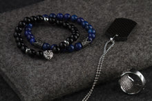 Load image into Gallery viewer, UNCOMMON Men's Beads Bracelet Two Pewter Crown Charms Blue Jasper Beads
