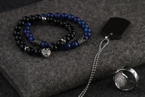 UNCOMMON Men's Beads Bracelet Two Pewter Crown Charms Blue Jasper Beads