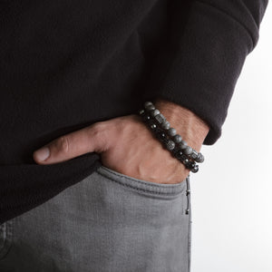 UNCOMMON Men's Beads Bracelet One Silver Jeweled Globe Charm Black Onyx Beads