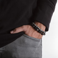 Load image into Gallery viewer, UNCOMMON Men's Beads Bracelet One Silver Jeweled Ring Charm Black Matte Onyx Beads