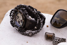Load image into Gallery viewer, UNCOMMON Men's Beads Bracelet Silver Charm Hematite Beads