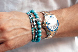 UNCOMMON Men's Beads Bracelet Silver Charm Turquoise Beads