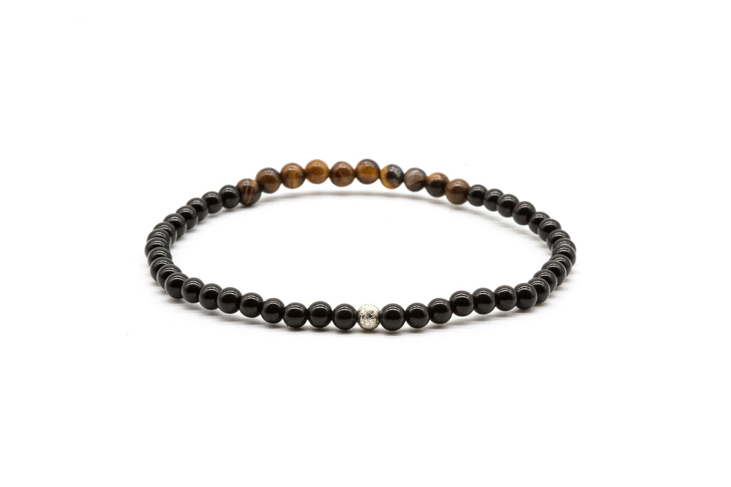 UNCOMMON Men's Beads Bracelet Silver Charm Onyx and Tiger-Eye Beads