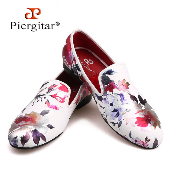 a7f56792475 2018 new style Handmade white color print gold flower China style men  loafers wedding and party