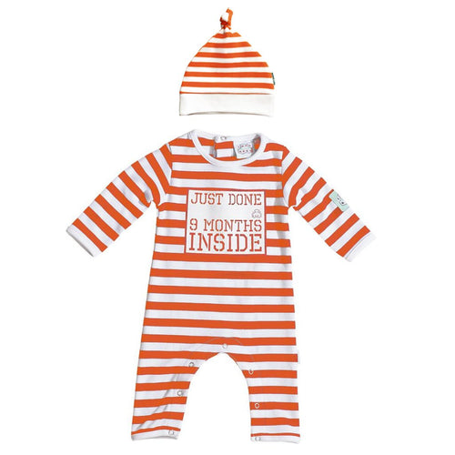 Baby Shower Gift - Just done 9 Months Inside® Newborn Baby Grow & Hat  Bundle- Orange and White
