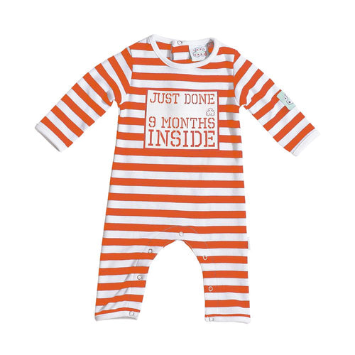Baby Shower Gift - Just done 9 Months Inside® Newborn Baby Grow - Orange and White - Just Done 9 Months Inside