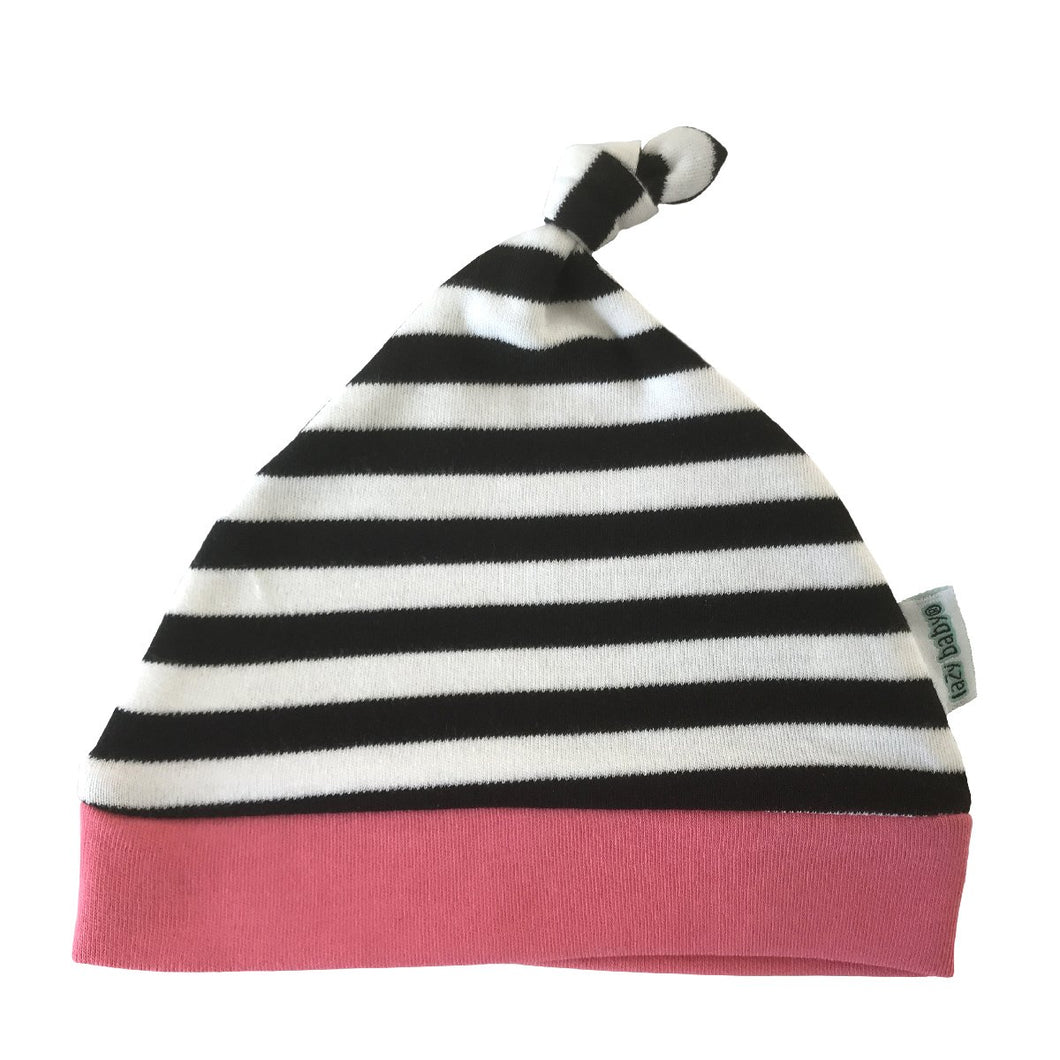 Lazy Baby Hat Black / White / Pink - Just Done 9 Months Inside
