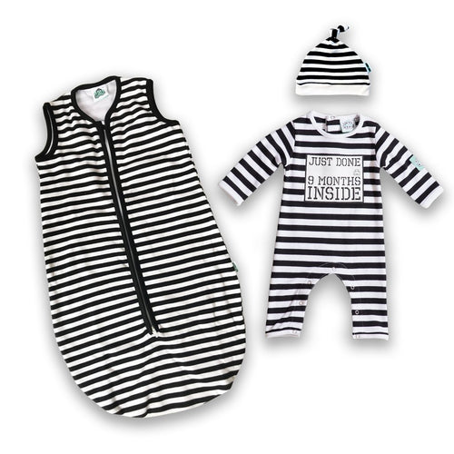 Lazy Baby® Just Done 9 Months Inside® Coming Home bundle Sleeping Bag and Baby Grow - Baby Shower Gift - Baby Announcement