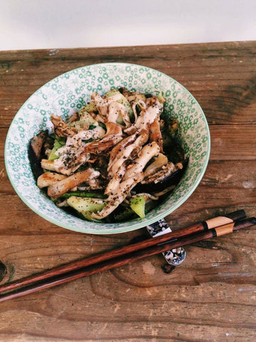 home grown oyster mushrooms soba recipe