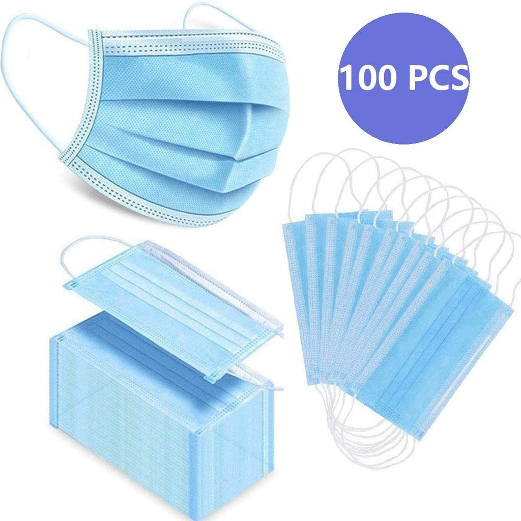 100 PCS 3-ply Disposable Face Mask with Chinese packaging ,Personal Health protection Filters out bacteria, virus, dust, pollen and smoke