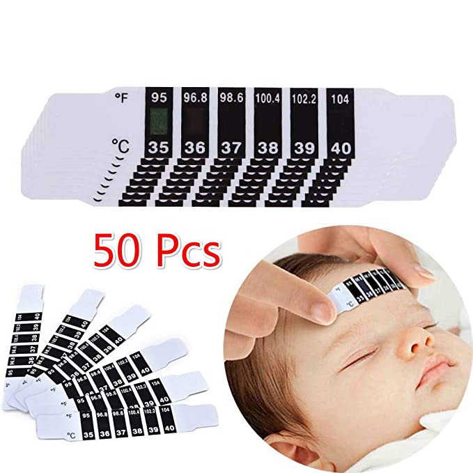 Instant Read Forehead Temperature Thermometer Strips, Reusable Fever Thermometer Strip, Adhesive Checking Thermometer Strip of Children/Infants/Adults/Elderly People