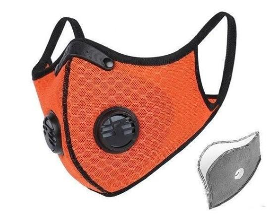 Orange KN95 Reuse Face Mask With Replaceable Filter Anti Dust 3-Layer PM2.5 Dust-proof Protective 95% Filtration Mouth Muffle Cover
