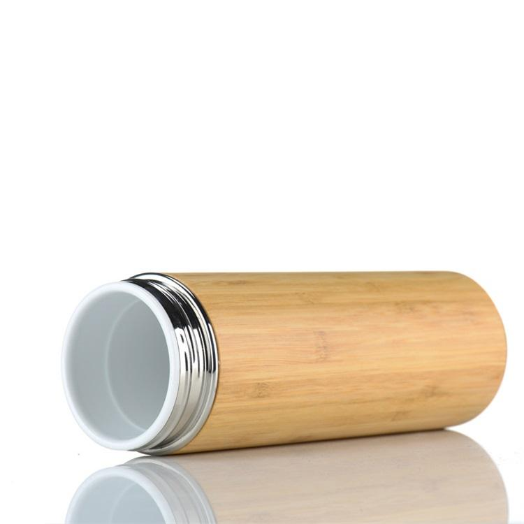 450ml Bamboo Thermos Bottle Ceramic Inside