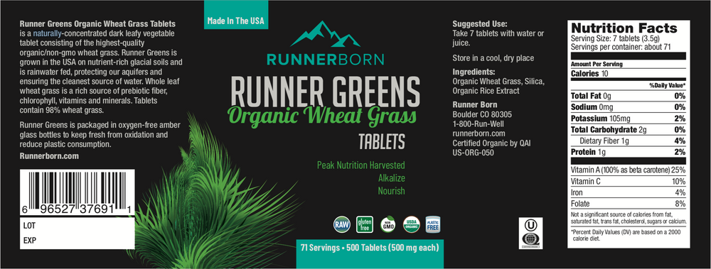 Runner Greens - Organic Wheat Grass Tablets