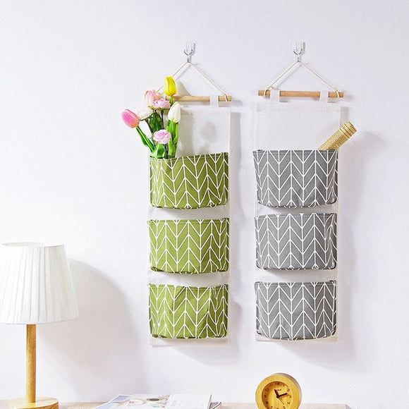 3 Pocket Wall Hanging Large capacity Storage Bags