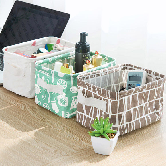 Foldable Fabric Storage Tote Bag Organizer Desk