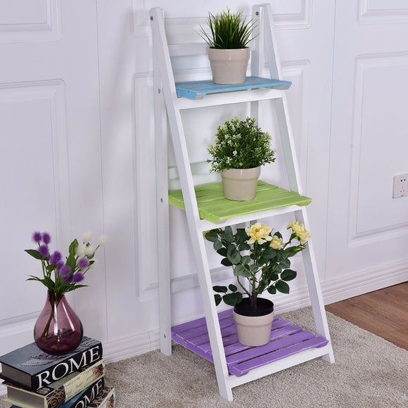 Folding Wooden 3-Tier Display Shelf