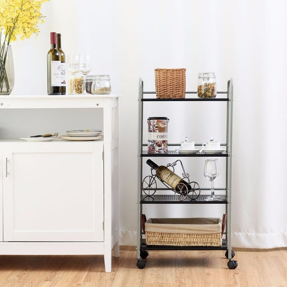 4 Tier Rolling Cart Storage and Display Rack