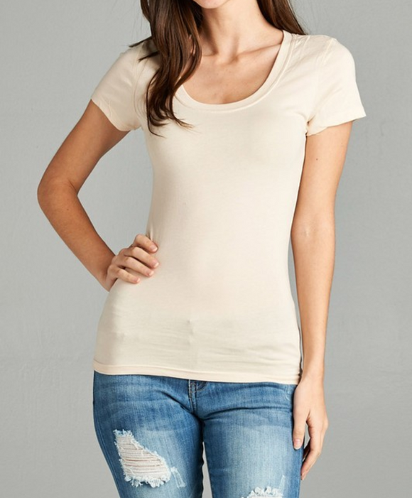 Simple Beige Round Neck T-Shirt