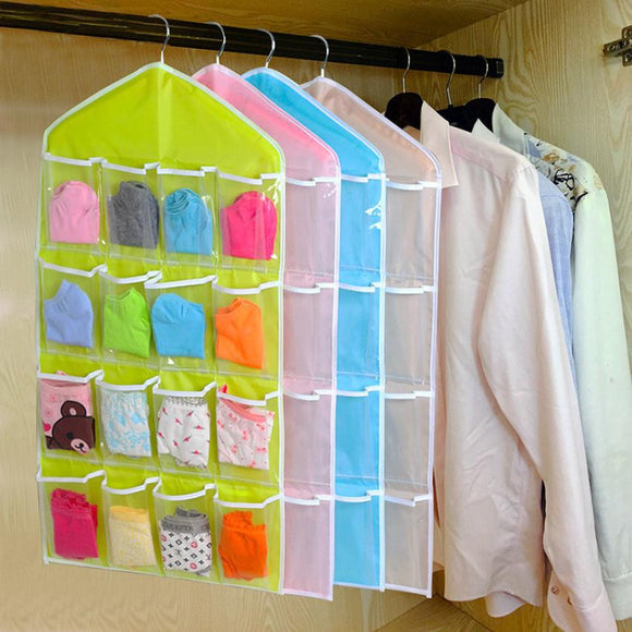 16Pockets Clear Hanging Bag Socks Bra Underwear Rack Hanger Storage Organizer
