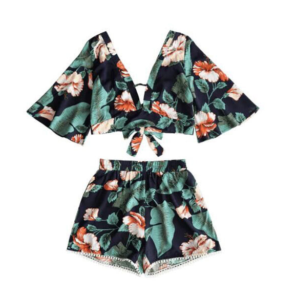 Casual Two Piece Set Women Botanical Print Summer V Collar Top & Shorts