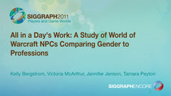 All in a Day's Work: A Study of World of Warcraft NPCs Comparing Gender to Professions