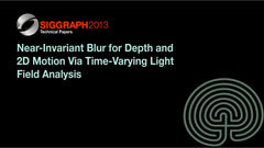 Near-Invariant Blur for Depth and 2D Motion Via Time-Varying Light Field Analysis