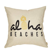"Fjfz Summer Beach Decorative Throw Pillow Cover Aloha Beaches with Pineapple Sign Farmhouse Decoration Home Decor Cotton Linen Cushion Case for Sofa Couch, 18"" x 18"""