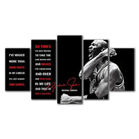 HSBZLH 5 Piece Canvas Wall Art Room Wall Decor Home Decor Modular Poster Pictures Work 5 Peiec Michael Quotes Jordan Paintings Printed Living Room Home Decorations for Living Room Wall