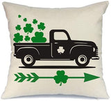 AENEY St Patricks Day Pillow Cover 18x18 for Couch Truck Green Clover Loads of Luck Happy St Patricks Day Decorations for Home Decor Throw Pillow Cover Pillowcase Faux Linen Cushion Case for Sofa A191