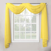 "Decotex 1 Piece Sheer Voile Home Decor Fully Hemmed Scarf Valance Swag Topper (54"" X 216"", Yellow)"