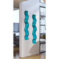"Statements2000 Abstract Metal Wall Art Sculpture Wave - Modern Home Decor by Jon Allen - 46.5"" x 6"", Aqua"
