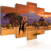 "Konda Art Elephant Family Canvas Wall Art Starry Sky 5 Piece Animal Painting Contemporary Home Decoration Pictures Print Artwork for Living Room Framed and Ready to Hang (Brown Elephants, 40""x 20"")"