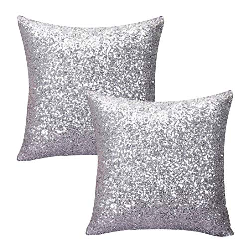 Kithomer Sequins Throw Pillow Cover Solid Glitter Sequins Decorative Square Pillow Case Comfy Satin Solid Cushion Cover for Couch Sofa 16 X 16 Inch, (2 Packs,Gold)