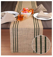 "Burlap Table Runner in Printed Stripe Design 14x72 Natural/ Ink Blue ,Burlap Table Runner,Burlap Wedding Decotrations Runners,Baby Shower Table Runners,72"" Long Burlap Table Runner, Set Of 2"