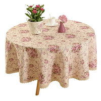 HIGHFLY Vintage Flower Decorative 55x71 Rectangle Linen Table Cloth Printed Pattern Washable Table Cloth Dinner Kitchen Home Decor - Multi Colors & Sizes