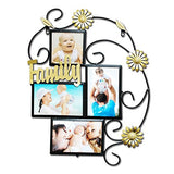 Abbie Home 4 Openings Iron Picture Frame Collage with Flower Metal Spray Wall Mounted Home Decoration Photo Holder Display Antique Finish (Bronze)