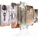 Canvas Art Design - Home Sweet Home Canvas Print Abstract Retro Wall Art for Living Room Bedroom Office Decor Decorations Painting Artwork Large 5 Panel (A, Overall Size 40''x20'')