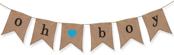 Oh Boy Burlap Banner - Baby Shower Decorations for Boy - Gender Reveal Party