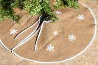 "Imperial Home Rustic Burlap Christmas Tree Skirt - 36"" Country Xmas Tree Decor Skirts w/Snowflakes"