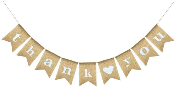 Uniwish Thank You Banner Burlap Sign for Wedding Pictures Rustic Baby Shower Hanging Bunting Garland Engagement Photo Props